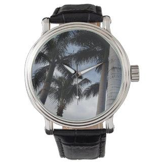 テネリフェ島のヤシの木の革腕時計 腕時計