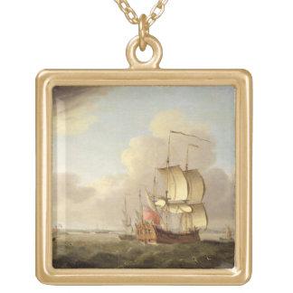 テムズの河口で出荷します、c.1761-66 (油 ゴールドプレートネックレス