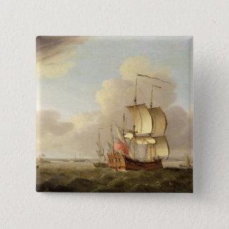 テムズの河口で出荷します、c.1761-66 (油 5.1cm 正方形バッジ