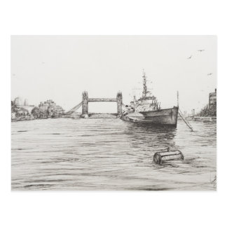 テムズ川London.2006のHMSベルファスト ポストカード