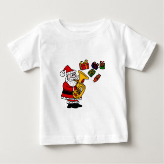 テューバのクリスマスの芸術を遊んでいるおもしろいなサンタクロース ベビーTシャツ