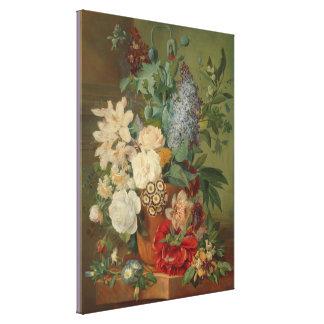 テラコッタつぼの花が付いている静物画 キャンバスプリント