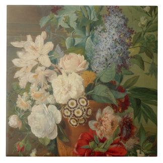 テラコッタつぼの花が付いている静物画 タイル