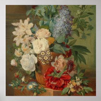 テラコッタつぼの花が付いている静物画 ポスター