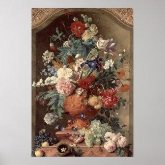 テラコッタつぼ1736年の花 ポスター