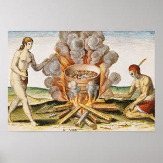 テラコッタポットの料理の食糧 ポスター