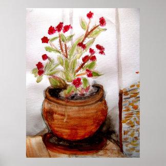 テラコッタポットの植物 ポスター