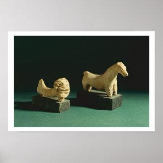 テラコッタライオンおよび馬、Mohenjodaro 2300-1750 B ポスター