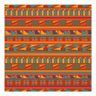 テラコッタ抽象的でアステカな種族のプリントパターン ポスター