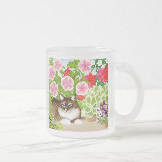 テラスのジャングルの曇らされたガラスのマグのトラの子猫 フロストグラスマグカップ