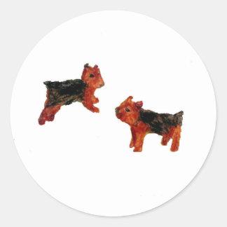 テリアのおもしろい犬の芸術 ラウンドシール
