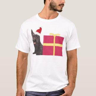テリアのサンタのスコットランド帽子 Tシャツ