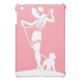 テリアのシルエットのiPad Miniケースを持つ女性 iPad Mini カバー