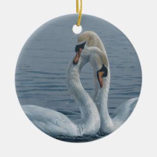 テリーアイザック著ネッキングの白鳥 セラミックオーナメント