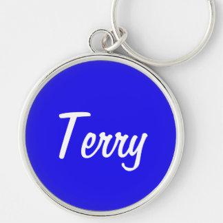 テリー銀色の円形のKeychain キーホルダー