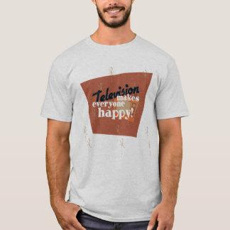 テレビは皆を幸せにさせます! 銅のブラウン Tシャツ