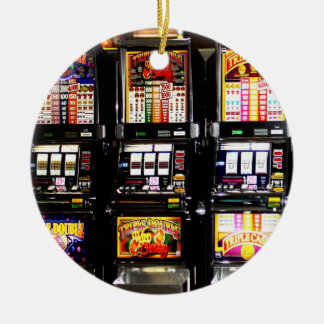 テレビ業界-幸運なスロットマシン セラミックオーナメント