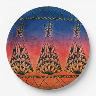テント小屋の芸術のBohoのカラフルな種族のデザイン ペーパープレート