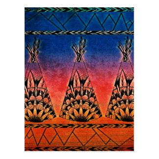 テント小屋の芸術のBohoのカラフルな種族のデザイン ポストカード