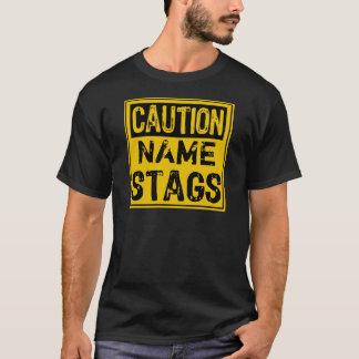 テンプレートの印の注意の雄鹿(文字を所有するために加えて下さい) Tシャツ