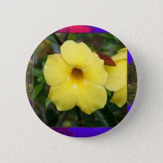 テンプレートの蘭によっては蝶ピンクの黄色いギフトが開花します 5.7CM 丸型バッジ