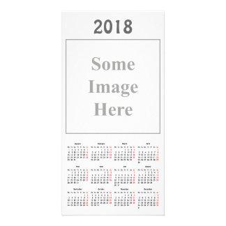 テンプレート2018のカレンダーの写真カード カード