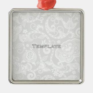 テンプレート シルバーカラー正方形オーナメント