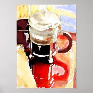 テーブルのコーヒーポット ポスター