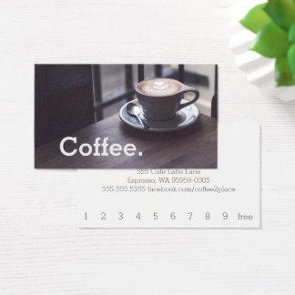 テーブルのシンプルなロイヤリティのコーヒーカードのデザインのコーヒー 名刺