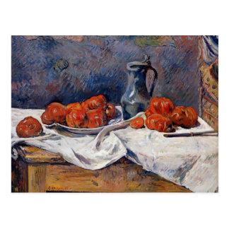 テーブルのポールGauguin-のトマト及びピューターのtankard ポストカード