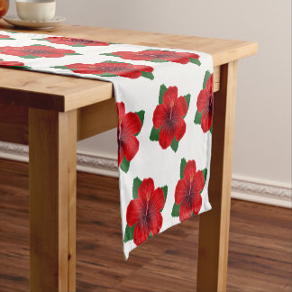 テーブルのランナー赤いハイビスカス ショートテーブルランナー