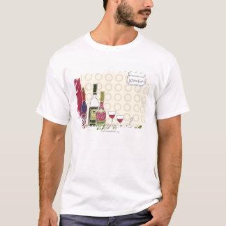 テーブルのワイングラスが付いているワイン・ボトル Tシャツ