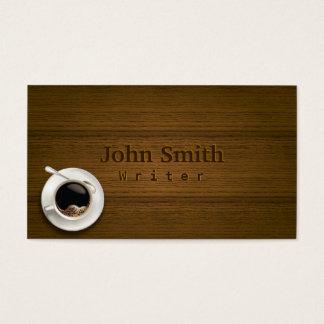 テーブルの作家の名刺の熱いコーヒー 名刺