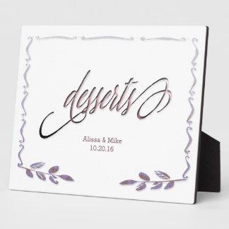 テーブルの印を結婚するお洒落な書道のデザート プリントプレート