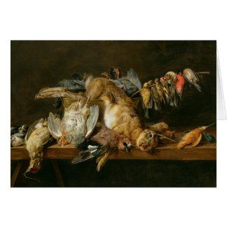 テーブルの死んだ鳥そしてノウサギの静物画 カード