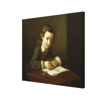 テーブルの男の子のスケッチ キャンバスプリント