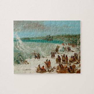 テーブルの石のナイアガラの滝のまわりのPortage ジグソーパズル