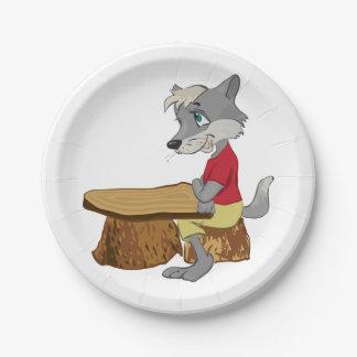 テーブルの紙皿のオオカミ ペーパープレート