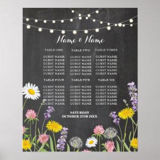 テーブルの結婚式の花の野生花ポスター座席 ポスター