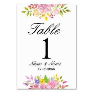 テーブルはピンクの結婚にエレガントな花柄番号を付けません カード