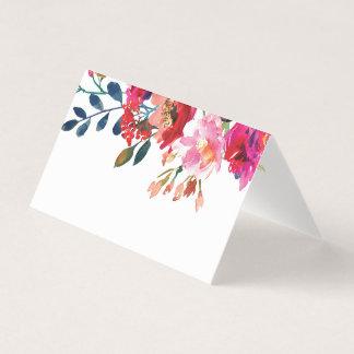 テーブルを結婚するエレガントな花の水彩画のホワイトゴールド プレイスカード