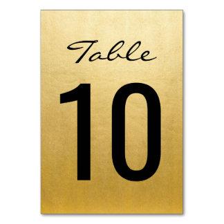 テーブルを結婚するエレガントな金ゴールドはカードテンプレートに番号を付けます