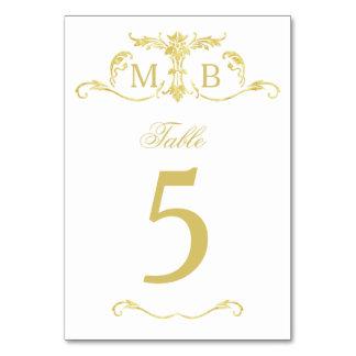 テーブルを結婚する金ゴールドはテーブル数カードに番号を付けます カード