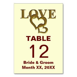 テーブルカードを結婚する金ゴールドの愛およびハート カード