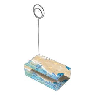 テーブルカードホルダーを結婚する青い貝殻