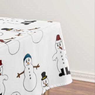 テーブルクロスの白くかわいい雪だるまのクリスマス テーブルクロス