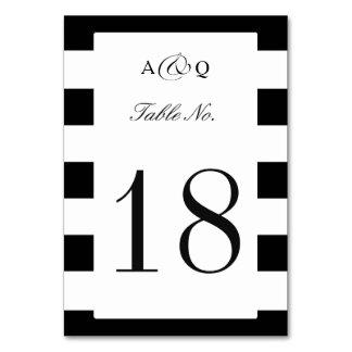 テーブル数を結婚するはっきりしたな黒のストライプ カード