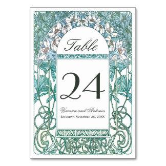 テーブル数を結婚するアールヌーボーのヴィンテージ カード