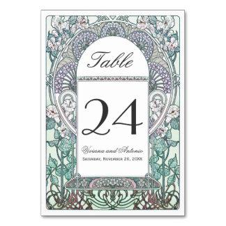 テーブル数を結婚する冬アールヌーボー カード