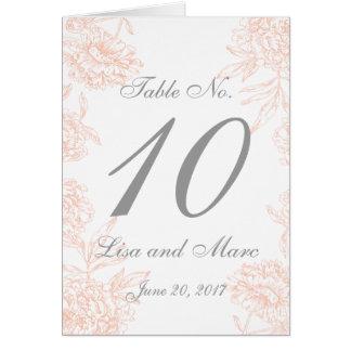 テーブル数を結婚する珊瑚の灰色の花のヴィンテージ カード